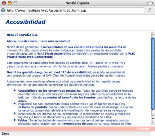 Declaración de accesibilidad de Nestlé
