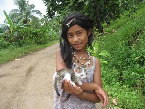 Rabi girl with kitten