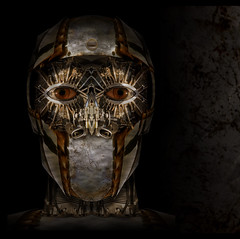 Welcome to the soldier side. (Josh Sommers) Tags: boy man face composite dark soldier robot mask head cyborg weekendamerica superbmasterpiece