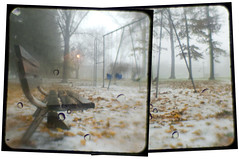 (O Caritas) Tags: autumn panorama snow fall leaves rain fog composite photoshop bench kodak michigan swings eastlansing swingset duaflex kodakduaflexii duaflexii nikond200 ttv throughtheviewfinder nikkor50mm14d 2007bypatricktpowerallrightsreserved johndemersonpark dsc523738