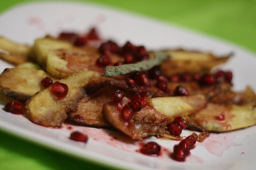 Butter Fried Parsnips with Pomegranate Sauce