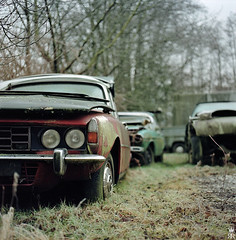 Just a new finishing and it's almost as new! (rman) Tags: auto old car analog mediumformat schweiz switzerland colours kodak rover hasselblad chrome squareformat oldtimer junkyard kalt farbe portra chrom ch januar rover3500 mittelformat schrottplatz roverp6