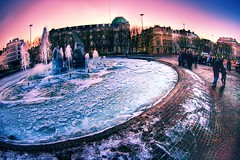 Frozen fountain, Lille (The Other Martin Tenbones) Tags: france fountain frozen pavement fisheye lille hdr