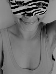 zebra (le jardin public - CS Photo) Tags: bw selfportrait face female eyes funny pretty mask cutie lips zebra