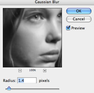 Removing Spots and Blemishes Gaussian Blur