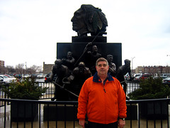 Dad with Blackhaks statue