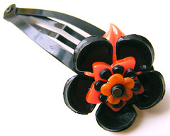 Orange and Black Vintage Flowers Barrette