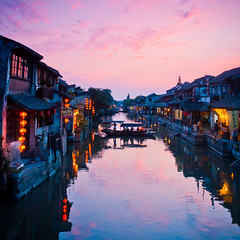 Serenity (tianxiaozhang) Tags: china bridge pink blue sunset shadow summer reflection night river square xitang zhejiang 17mm ef1740l eos450d