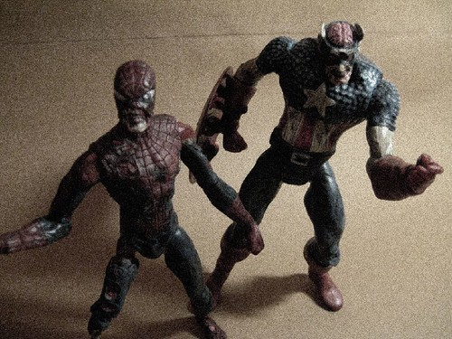 Zombie Spidey and Cap
