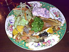 Butternut squash, rocket and feta calzone at Roseleaf Bar come Cafe in Leith, Edinburgh