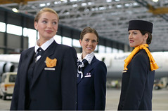 Lufthansa group 1988 to present (baldpipeguy) Tags: history vintage uniform flight 1970s stewardess 1980s lufthansa attendant 2000s 19882001 19791987