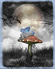 Moonlit Fairy (Cytosue) Tags: moon forest photoshop aiden photo wings manipulation fairy cap toadstool magical annegeddes enchanting impressedbeauty isawyoufirst diamondclassphotographer eyecandyart