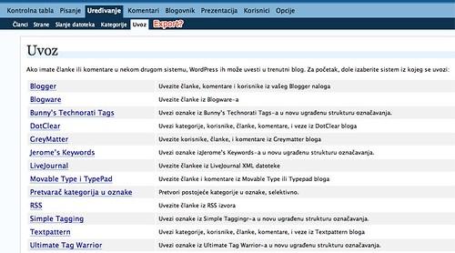 WordPress (MU?) with no Export