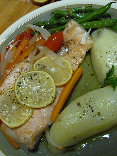 salmon en papillote in a sweet anise 'sauce'