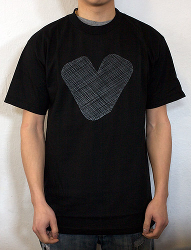 Twelve Bar Etched Heart T-Shirt Black