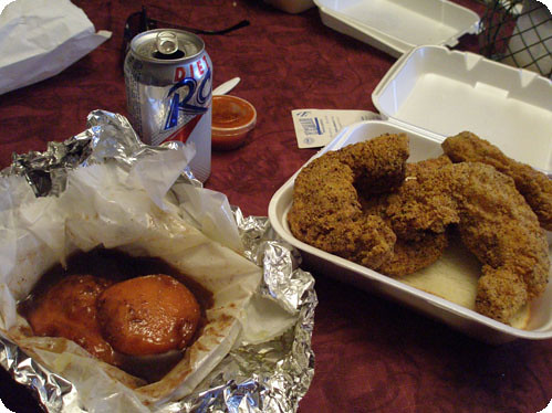 Fried catfish, sweet potatoes and an RC cola.