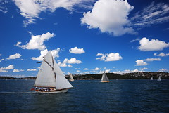 Sailing on a Sunday morning (magical-world) Tags: travel original sea cloud boat sailing manly sydney australia bluesky sail hd 2008 worldtrip oceania sydneycove magicalworld tyrrelltoday
