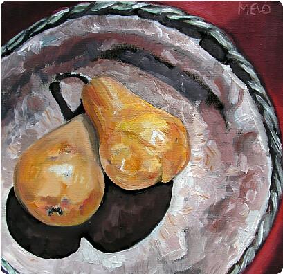 Zwei Birnen in antiker Schale
