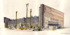 Gromarkthalle (Flaf) Tags: colour water pencil concrete hall european martin market drawing frankfurt central bank kran ostend wholesale beton lkw ezb bagger osthafen grossmarkthalle elsaesser zblin baumaschine