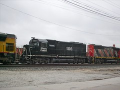 A former Illinois Central unit in the locomotive consist. CN Transfer train. La Grange Park Illinois. November 2007.