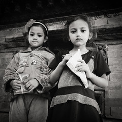 Two Young Girls, Kathmandu Durbar Square, Nepal (version 2) (chinese johnny) Tags: himalayan ambient reallifenotposedasian nepal nepali streetphotography documentaryphotography documentary vscocam vsco instagram iphone iphoneonly iphone5c bw square squareformat blackandwhite kathmandu kathmanduvalley monochrome flickrunitedaward