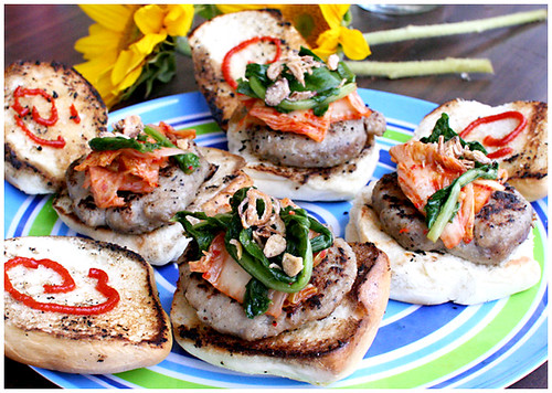 nem nuong sliders with kimchi and sriracha