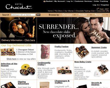 Hotel Chocolat homepage