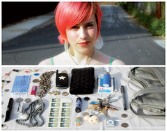 Sunni Diptych (J Trav) Tags: pez keys necklace diptych ipod stamps cellphone purse owl nickel lipstick pick cigarettes plectrum sunni everydaycontents jenslekmanticket