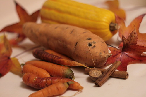 Carrots, sweet potato and delicata squash with cinnamon and nutmeg