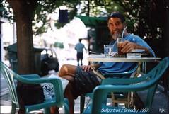 self... up in blue / greece (Volos) 1997 (hans j. knospe) Tags: selfportrait coffee caf up shop self greek kaffee greece blew volos griechischer