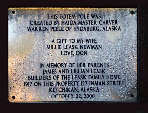 plaque, Newman Totem, Ketchikan, Alaska