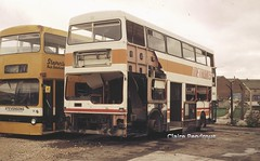 First of many. (Lady Wulfrun) Tags: abandoned october metro under prototype repair 1989 scrap 28th metrobus stevensons mcw dms weymann cammell toj 592s uttoxetter