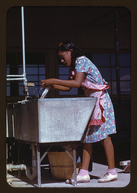 Young woman at the community laundry on Saturday afternoon, FSA ... camp, Robstown, Tex. (LOC)