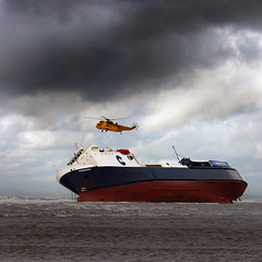 Off Kilter (idgie.) Tags: sea sky coastguard rescue beach ferry clouds canon coast boat sand waves ship stuck vessel lancashire helicopter shipwreck beached stranded blackpool eos300d raf sandbank cleveleys riverdance fylde stricken seatruck anawesomeshot brillianteyejewel
