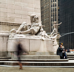 As The Titans Sleep (CarbonNYC) Tags: nyc newyorkcity sculpture newyork statue dusk sleep manhattan slumber motionblur metaphor columbuscircle bigapple speedoflife 1913 frenzy modernity thebigapple paceoflife frenetic visualmetaphor mainemonument carbonnyc ussmainemonument hvanburenmagonigle atilliopiccirilli