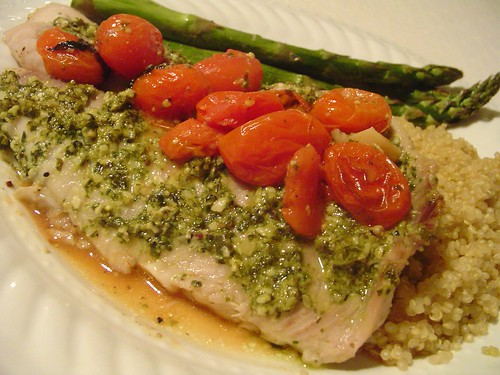 Tilapia with Lemon Pesto and Oven Roasted Tomatoes, or ...