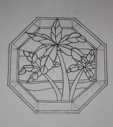 Palm Pattern Sketch – Stained Glass | K. Ryan Henisey