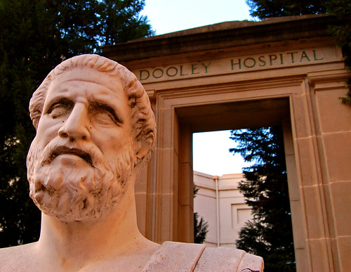 Hippocrates Statue and Dooley Hospital Door