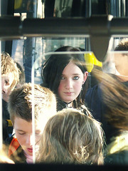 The sun shines for you, child (ljosberinn) Tags: sun bus girl sunshine eyes teenager agnes moment gaze sunray ilikecomments