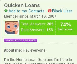 Quicken Loans wins a WOMMIE for our Yahoo Answers profile