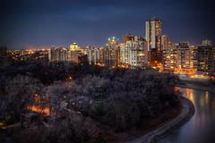 Winter's Coming To Winnipeg (bryanscott) Tags: city autumn trees canada building skyline architecture night river evening winnipeg cityscape manitoba condo hdr assiniboine hdratnight