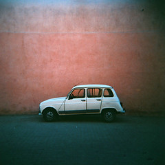 parked (czuczy) Tags: auto red white car wall holga transport renault morocco maroc marrakech