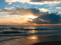 Just another sunset (filippo rome) Tags: sunset italy tramonto nuvole mare sole ostia onde battigia