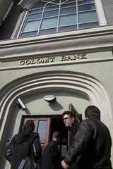Entering the bank