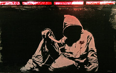 Banksy hoodie, London. (greenwood100) Tags: street uk red streetart brick london art wall youth hoodie blood britain knife banksy tunnel sneakers trainers trouble waterloo crime hoody murder violence stab lambeth stabbing leakestreet cansfestival upcoming:event=572837 livebytheknifediebytheknifeisthathismessage robingunningham welcomeuk