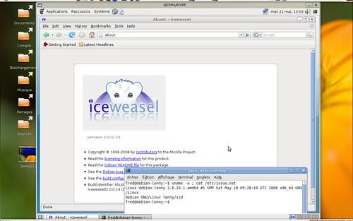 Iceweasel 2.0.0.14 sous Debian Lenny avec un noyau 2.6.24 pour AMD64
