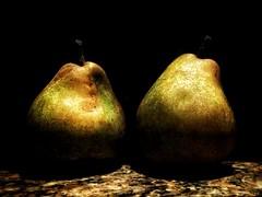 Pair (J.C. Moyer) Tags: fruit pear pears colour color blackbackground granite motorolamotog4plus pair two