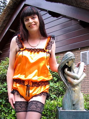 Satin and lace (Paula Satijn) Tags: hot sexy girl lady gurl satin silk lace shiny teddy playsuit stockings stockingtops garden outside happy orange cute adorable tgirl tranny transvestite sissy