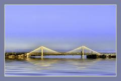 The Cable Bridge (~Dezz~) Tags: bridge blue water river landscape structure cablebridge kennewick pasco tricities canons3is canonpowershots3is platinumphoto fauxreflections
