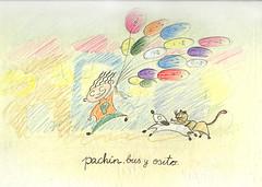 Pachín, Bus y Osito (calandra) Tags: color illustration lápiz